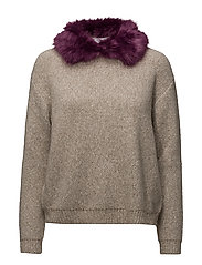 Faux-fur collar jumper - LT PASTEL GREY