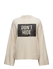 Message knitted sweater - LIGHT BEIGE