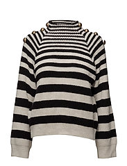Buttoned striped sweater - LIGHT BEIGE