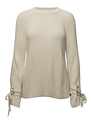 Bow textured sweater - LIGHT BEIGE
