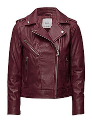 Leather biker jacket - MEDIUM PINK