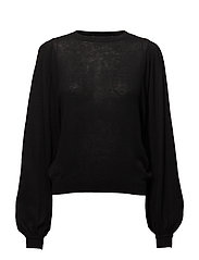 Puffed sleeves sweater - BLACK