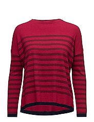 Knit striped sweater - MEDIUM RED
