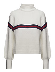 Striped contrast sweater - LIGHT BEIGE