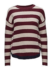 Ribbed knit sweater - DARK RED
