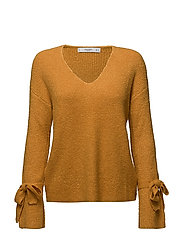 Bow textured sweater - MEDIUM YELLOW