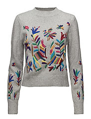 Floral embroidery sweater - MEDIUM GREY