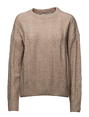 Ribbed detail sweater - MEDIUM BROWN