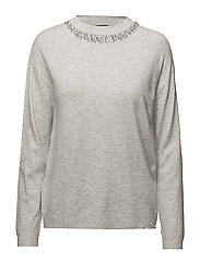 Crystal collar jumper - LT PASTEL GREY