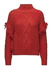Fringed cable-knit sweater - DARK ORANGE