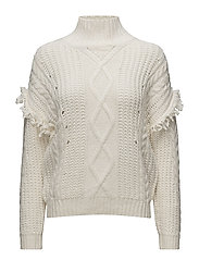 Fringes cable-knit sweater - LIGHT BEIGE