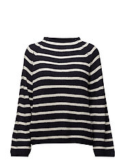 Knit striped sweater - NAVY