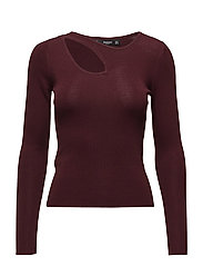 Cut-out knitted sweater - DARK RED