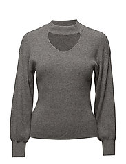 Choker neck jumper - MEDIUM GREY