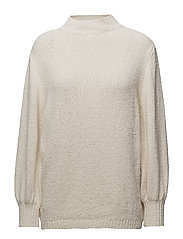 Ribbed edges sweater - WHITE