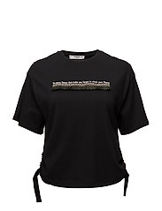 Fringed message t-shirt - BLACK