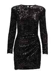 Pursed sequined dress - BLACK