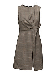 Houndstooth dress - BROWN