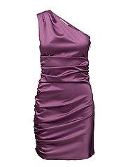 Asymmetrical satin dress - PINK