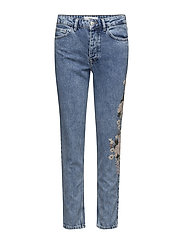 Embroidered straight Spring jeans - OPEN BLUE