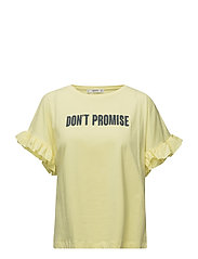 Ruffled message t-shirt - YELLOW