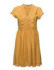 Embroidered panel dress - MEDIUM YELLOW