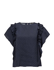 Polka-dot print blouse - NAVY