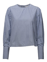 Puffed sleeves blouse - LT-PASTEL BLUE