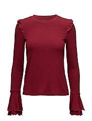 Ruffles Ribbed t-shirt - DARK RED