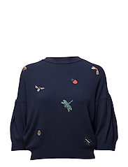 Embroidered sweater - NAVY