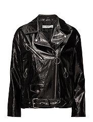 Vinyl biker jacket - BLACK