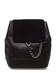 Leather mixed backpack - BLACK