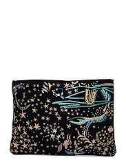 Embroidered clutch - BLACK