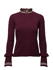 Ruffle striped sweater - DARK RED