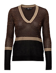 Fine-knit metallic sweater - GOLD
