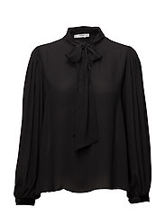Tie-neck blouse - BLACK