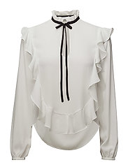 Ruffle bow blouse - NATURAL WHITE