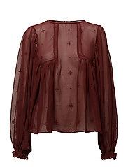 Openwork detail blouse - DARK RED