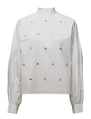 Embroidered crystals blouse - NATURAL WHITE
