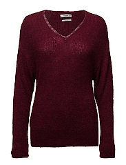 Lace panels sweater - DARK RED