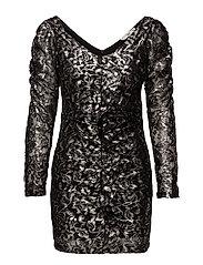 Lace ruffle dress - SILVER