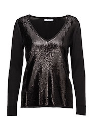 Sequin beaded sweater - BLACK