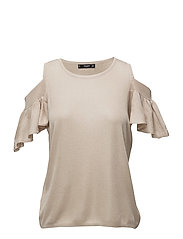 Cold shoulder top - LT PASTEL GREY