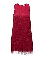 Flowy fringed dress - BRIGHT PINK
