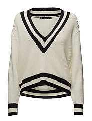 V-neckline sweater - LIGHT BEIGE