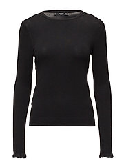 Ruffled detail sweater - BLACK