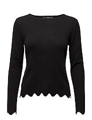 Scalloped edges sweater - BLACK