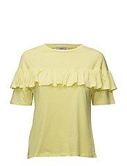 Ruffle cotton t-shirt - YELLOW