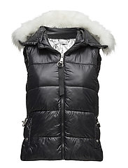 Hooded quilted gilet - BLACK
