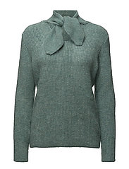 Bow collar sweater - TURQUOISE - AQUA